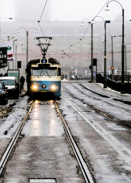 A tram approaches, Street photography, Gothenburg, wintertime