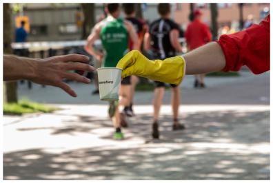 Handing a mug